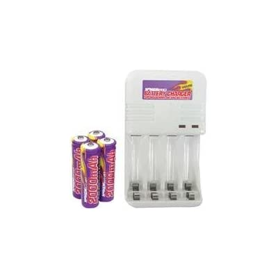 Battery Charger for NiCad & NiMh AA/AAA Batteries (NoMEMpro PRO120 with 4 NiMh batteries included)