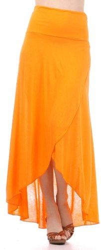 Sakkas 0326 Soft Jersey Feel Solid Color Strapless High Low Dress / Skirt - Orange/Large