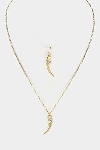 Trendy Fashion Jewelry Horn With Crystal Accent Pendant Necklace Set By Fashion Destination | (Gold)