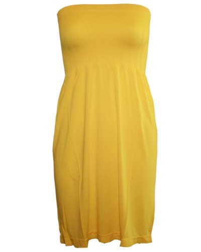 Strapless Seamless Yellow Smocking Tube Dress