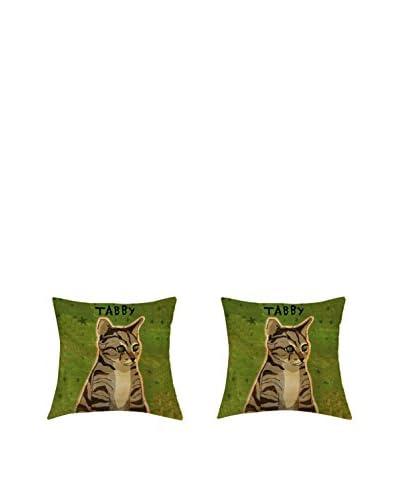 LITTLE FRIENDS by MANIFATTURE COTONIERE Kissenbezug 2er Set Tabby Cat grün