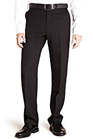Active Waistband Straight Fit Flat Front Plain Travel Trousers