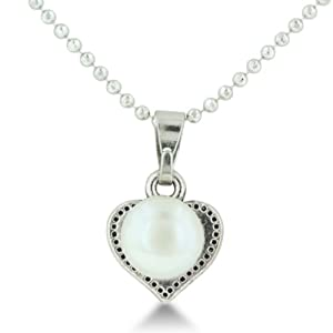 Heart Shaped Pendant With Freshwater Natural White 7.5-8mm Round Pearl On Faceted Ball Chain Necklace, 18 Inches Long