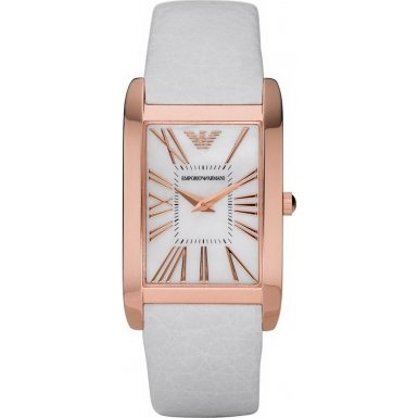 Emporio Armani AR2047 Ladies Super Slim White Rose Gold Watch
