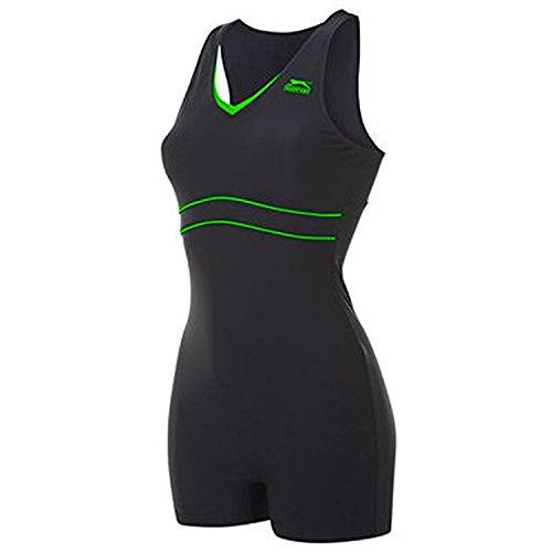 slazenger-womens-boyleg-legsuit-ladies-swimming-costume-swimsuit-beachwear-boyleg-black-green-16-xl