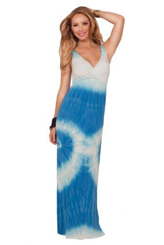 V-neck Sleeveless Twisted Back Strap Empire Waist Summer Beach Long Maxi DRess
