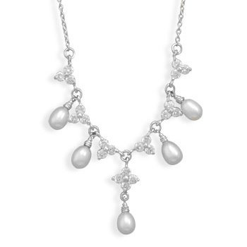 Pearl and Cubic Zirconia CZ Flower Neckklace Rhodium Sterling Silver Vintage Look Adjustable Length
