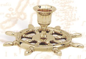 Brass Ship Wheel Candle Holder