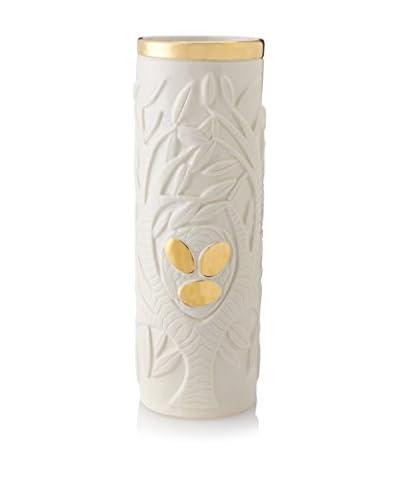 Waylande Gregory Etched Tree of Life Large Cylinder Vase, White/Gold