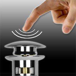 design popup ventil push open als ablaufventil ablaufgarnitur f r ihr waschtisch waschbecken. Black Bedroom Furniture Sets. Home Design Ideas