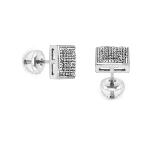Mens 8Mm White Gold Plated Cz Micro Pave Iced Out Hip Hop Smooth Square Stud Earrings Screw Backs 05