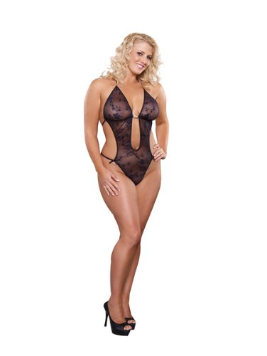 Magic Silk Plus Size Sheer Embroidered with Rhinestone Teddy Style B898 - Black