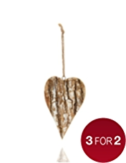 Wooden Bark Heart Shaped Christmas Tree Decoration
