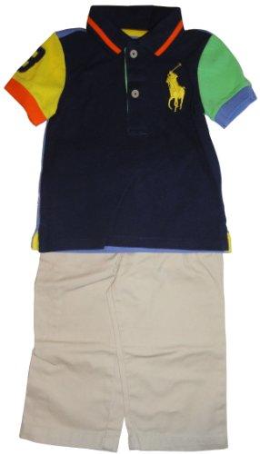 Polo By Ralph Lauren Infant Boy'S 2 Piece Outfit Navy Shirt/Khaki Pants (3 Months)