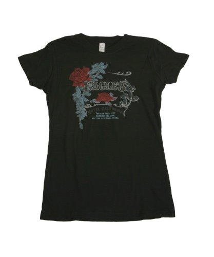 Eagles Hotel California T-shirt vintage rose silver foil Womens tee (X-Large)