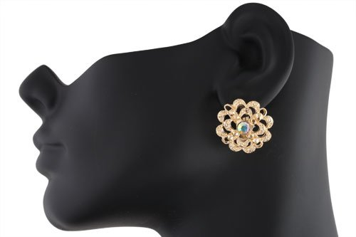 Ladies Gold with Clear AB Cauliflower Style Clip on Earrings