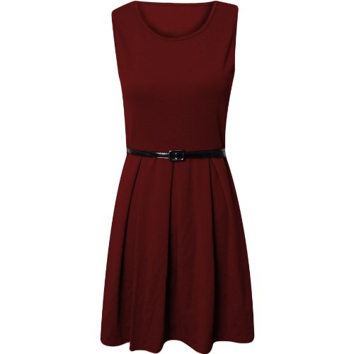 Fashion Wardrobe Womens Skater Dress Ladies Sleeve Less Tailored Short Party Sexy Belted Dresses (USA 8-10