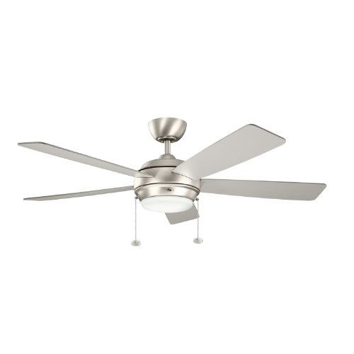 Kichler Lighting 300173Ni Starkk 52In Ceiling Fan, Brushed Nickel Finish With Reversible Silver/Walnut Blades And Satin Etched Glass Downlight front-894159