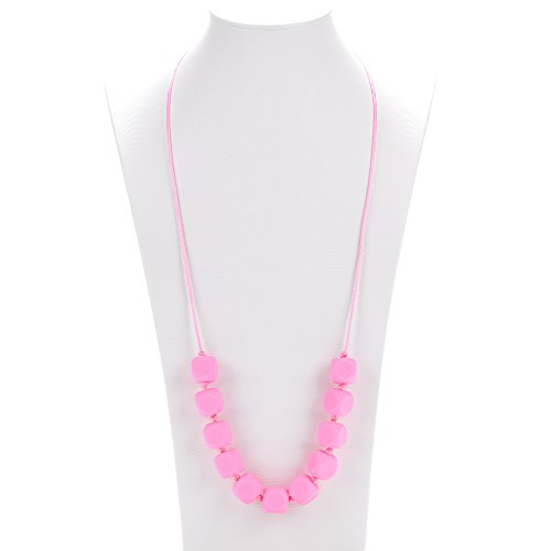 """Silli Me Jewels: """"Sugar-n-Spice"""" - Chewable Teething Necklace with Cube-shaped Beads for Mom to Wear and Baby to Chew or Little Girls Dress-Up (Pink)"""