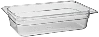"Cambro 42CW 1.8 qt Capacity, 10-7/16"" Length x 6-3/8"" Width x 2-1/2"" Depth, Camwear Clear Polycarbonate Fourth Size Food Pan"