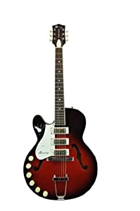 harmony h 59 semi hollow body 39 66 reissue electric guitar redburst lefty. Black Bedroom Furniture Sets. Home Design Ideas