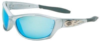 Harley-Davidson HD1000 Safety Glasses with Silver Frame and Blue Mirror Anti-fog Hardcoat Lens