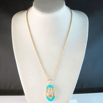 Allah CZ Turquoise Oval 24