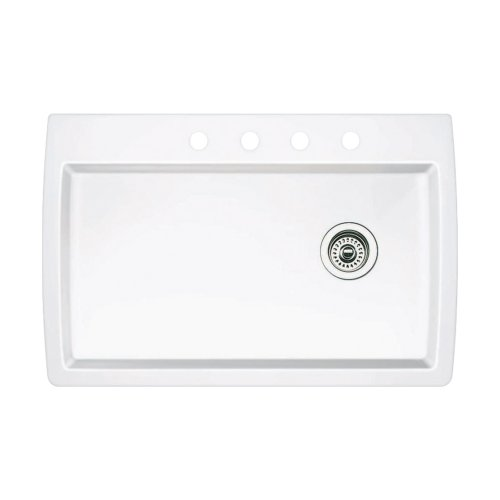 Blanco 440195-4 Diamond 4-Hole Single-Basin Drop-In or Undermount Granite Kitchen Sink, White