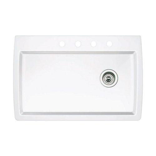 Blanco 440195-4 Diamond 4-Hole Single-Basin Drop-In or Undermount Granite Kitchen Sink, White