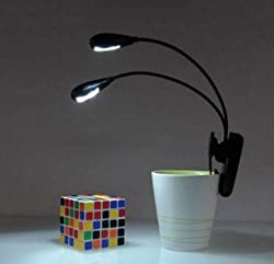 Newtronics Dual Flexible Adjustable Neck Battery Operated Book Reading Light LED Lamp with Clip, USB Cable & On/Off Button for Each LED Light