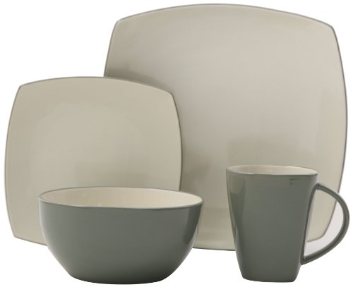 Gibson Tutone Soho Lounge 16-Piece Dinnerware Set, Green and Ivory