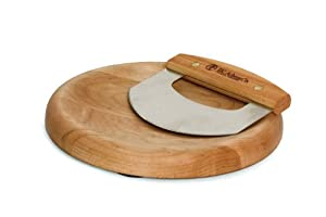 J.K. Adams Maple Wood Herb Chopping Bowl with Classic Mezzaluna Chopper, Round, 9-inches
