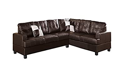 Poundex Bobkona Karen Bonded Leather 2-Piece Reversible Sectional Sofa, Espresso