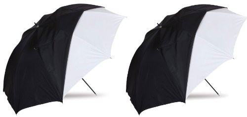 """Westcott 2 Pack 45"""" Optical White Satin Collapsible Umbrella With Removable Black Cover"""