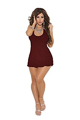 Sexy Lace Halter Mini Dress Nightgown Sleepwear Easy Fit One Size Lingerie Set