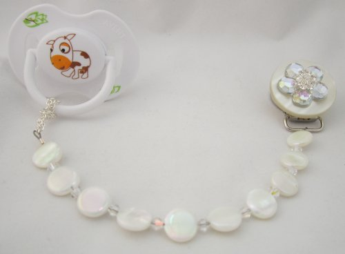 Baby Clear Mother Of Pearl Pacifier Clip
