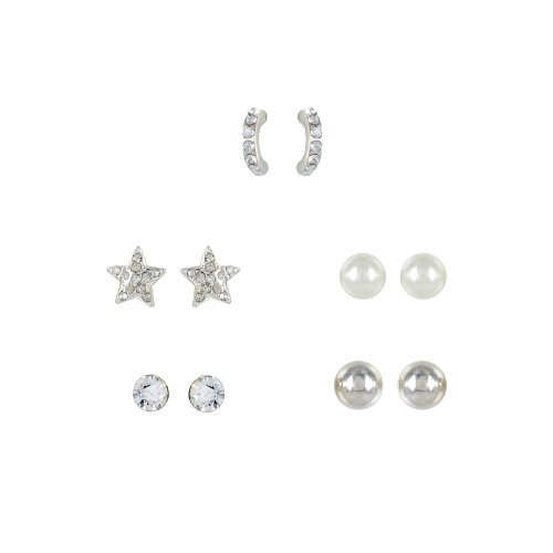 Crystal Star, Cream Simulated Pearl, Tailored Ball, Crystal Stud and Hoop Multiple Earring Set