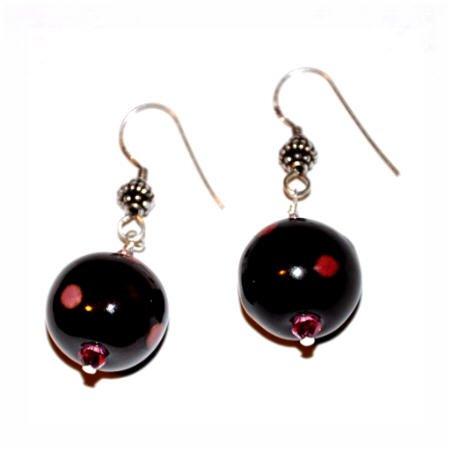 Kazuri Earrings - Antique Gold and Pink Polka Dot Sterling Silver Earrings