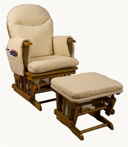 This soft and comfortable traditional solid timber glider chair with glider footstool. Reclines into 7 different positions with handy side pockets. & Rocking Chairs (UK): September 2011