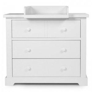 Wickelkommode – CLASSIC WHITE – Kommode 3 Schubladen + Wickelaufsatz, Farbe Weiß, 126x68x92 cm, MDF+ Spanplatten