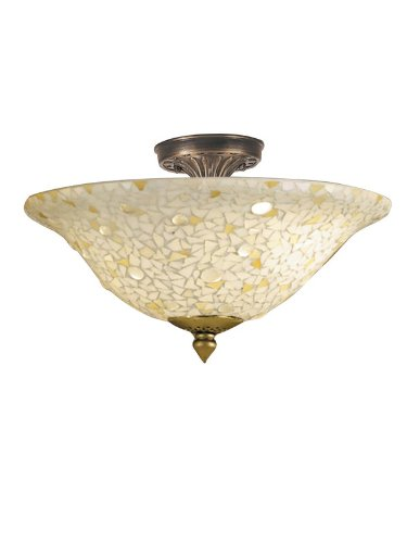 Dale Tiffany 8565/3Ltf Mosaic/Clear Flush Mount Light, Antique Bronze And Mosaic Shade