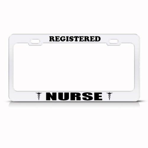 registered nurse nurses metal career profession license plate frame holder