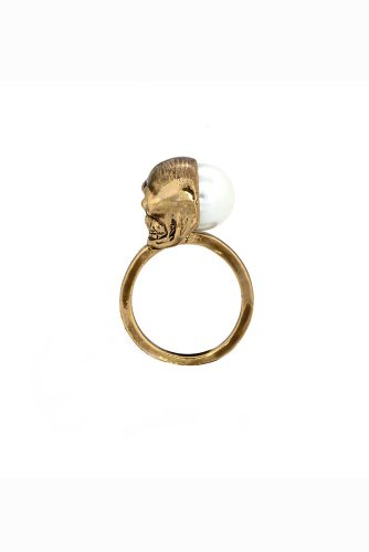 House of Harlow - Skull and White Pearl Ring (Gold)