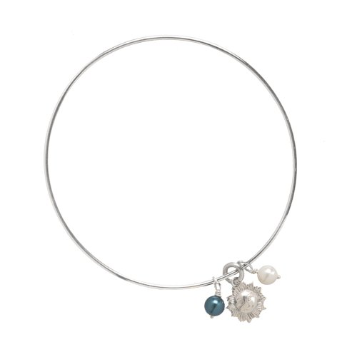Sterling Silver Smilling Sun and Pearl Bangle Bracelet
