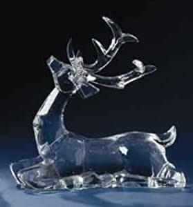 """9"""" Icy Crystal Seated Reindeer Christmas Figure with Magnetic Removable Antlers"""