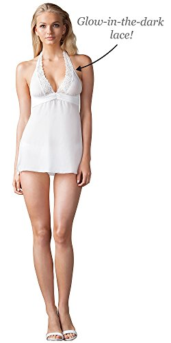 White Lace Glow-in-the-Dark Lingerie Set for Women, Medium (8-10)