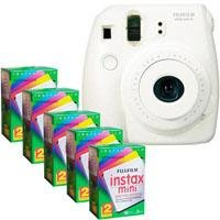 FujiFilm Instax Mini 8 Camera, 62x46mm Picture Size, White - Bundle - with Five TwinPacks of Fujifilm Instax Mini Instant Daylight Film, 20 Exposures (Total 100 Sheets)