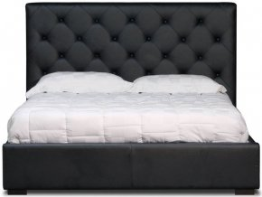 J and M Furniture 17541BEDQUN Queen Size Zoe Hydraulic Lift Bed with Tufted Leatherette Headboard and Storage Space Under Mattress in: Black