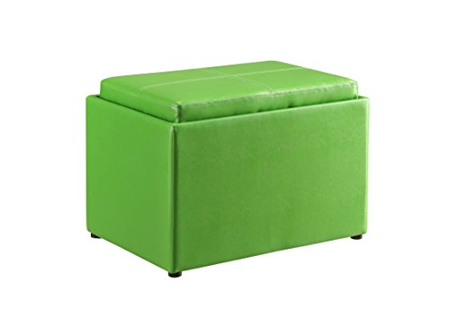 Convenience Concepts Designs4Comfort Modern Accent Storage Ottoman, Green