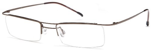 Unisex Semi-Rimless Glasses Frames Brown Prescription ...